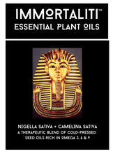 IMMORTALITI contains a therapeutic blend of cold-pressed plant oils: Nigella Sativa & Camelina Sativa. Together they provide a broad spectrum of Omega-3 essential fatty acids, plus many other important active ingredients.