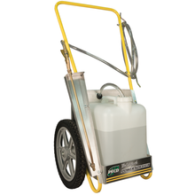 Now you can make spraying a pleasure with The Original PECO POWER SPRAYER.  Our sprayer eliminates hand pumping or lugging a heavy tank on your back. This completely self contained re-chargeable 12-volt electric sprayer is designed with the homeowner and professional in mind.  The 14 inch wheels and lightweight aluminum cart make it easy to maneuver over lawn and garden surfaces, and the conveniently located wand is always at hand. The electric pump runs up to five hours on one charge with its non-liquid heavy duty gel cell rechargeable battery. The removable wide mouth five gallon container makes it easy for mixing and spraying fertilizers, herbicides, pesticides, and fungicides. The spray adjusts from a fine mist to a 30 foot solid stream. The PECO Power Sprayer includes a 5 gallon container, 8 foot long hose with quick release hose hanger, 18 inch long brass extension wand, battery, and battery charger. Accessories include: Extra tanks, 100 foot extension or custom cut length sold by the foot.  Try the original PECO POWER SPRAYER TODAY!