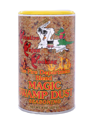 Fire Department Blend Magic Swamp Dust--8 oz can This is the spicy version of Magic Swamp Dust. You won't need the Fire Hose after eating it, but it's got a nice kick to it.  All the same great flavor with only 6% sodium.