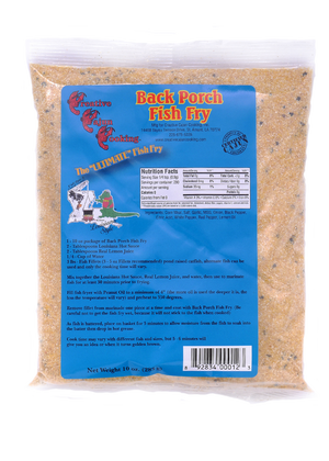 Back Porch Fish Fry Once you try this, your favorite fish fry will change to Back Porch Fish Fry.  With its delicious cornmeal base, seasoned with Magic Swamp Dust, your fish will be crispy on the outside and tender and juicy on the inside! Real easy to use, the directions are on the label.