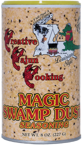 Magic Swamp Dust - 8 oz Can There's nothing like it on the market today! It's not hot and has 1% less sodium than ketchup (7%). The flavor is unbeatable; great on anything! Just sprinkle on anything from surf to turf while you're cooking, or on your favorite salad, baked potato, or vegetables for that enhanced flavor never experienced before.
