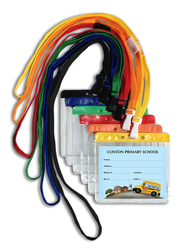 366 Customized Bus Tag ID with Pouch and Breakaway Lanyard