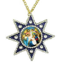 Ornament, icon of the Nativity in star-shaped frame
