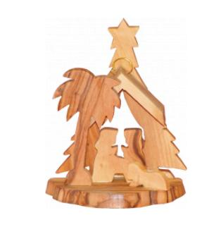 Ornament, olive wood, 3-dimensional Nativity