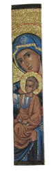 Tapestry bookmark, Theotokos with Christ, blue