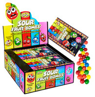 Sour Fruit Bombs JoJo. 12 packets x 50g. Gluten Free. Sour Assorted Flavoured Candy. Not suitable for children under 3 years of age.