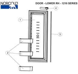 Norcold Lower Right Hand Door 627944 (fits the 1210/ 1211 models) panel type door