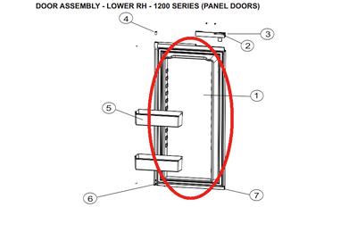 Norcold Lower Right Hand Door 627991 (fits the 1200 model) - panel type door