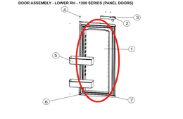 Norcold Lower Right Hand Door 627992 (fits the 1200 model) - panel type door