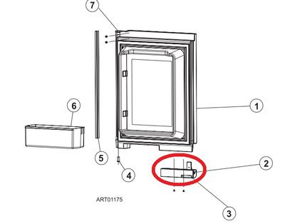 Norcold Door Handle 619574 (upper right/ lower left for 1200)