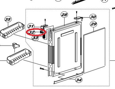 Norcold Door Handle Assembly 160222100 (fits many DE/ DC models)