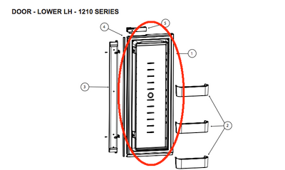 Norcold Lower left Hand Door  634071 (fits the 1200 model) - panel type door