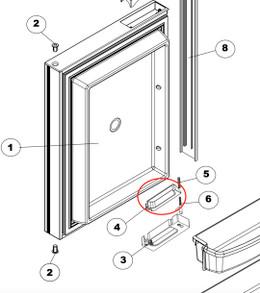 Norcold Door Handle 628018 (2117/ 2118) lower right/ upper left