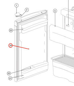 Norcold Refrigerator Door 690152107R (fits the N3141/ N3104)