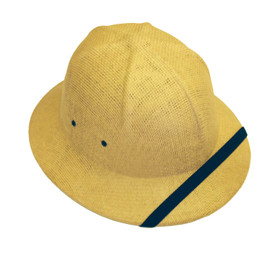 Protect yourself from the sun with this trendy straw safari pith helmet in tan.