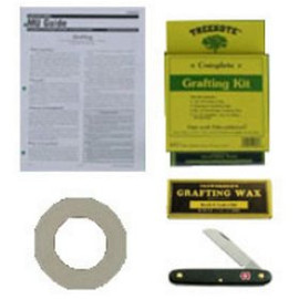 A tree grafting kit with tape, knife, and wax from TreeKote.