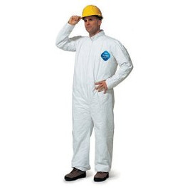 These DuPont Tyvek coverall spray suits, but make sure you're protecting your head too.