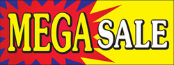 Mega Sale with starburst with white font banner