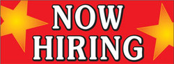 Now Hiring with red background and yellow stars banner