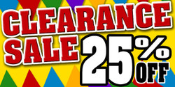 Clearance Sale 25% off banner