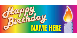 Happy Birthday with rainbow colors and candle banner