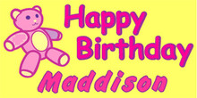 Happy Birthday with pink Teddy Bear banner