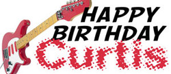 Happy Birthday with a guitar banner