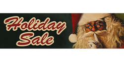 Holiday Sale with whispering Santa banner