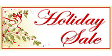 Holiday Sale with holly and ribbon banner
