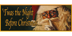 Twas the Night Before Christmas whispering Santa banner