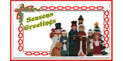 Seasons Greetings Christmas banner with Victorian carrolers banner