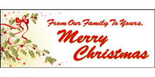 Merry Christmas Holly and ribbons banner
