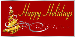 Happy Holidays red background stylized Christmas tree banner