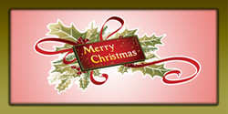 Merry Christmas with holly, ribbon and a card banner