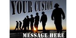 Your custom message here with soldier silhouettes banner