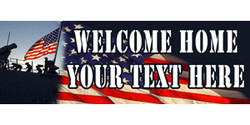 Welcome Home Your Text Here with American flag and on deck banner