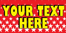 Your Text Here Red background yellow font large stars banner