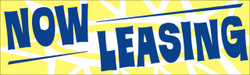 Now leasing yellow and blue banner