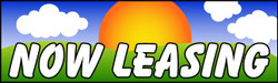 Now Leasing with clouds banner