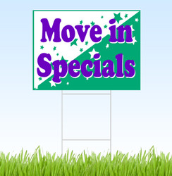 Move In Specials - purple, white and green coroplast sign and stake