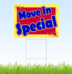 Move In Special, blue, red and yellow coroplast sign with stake