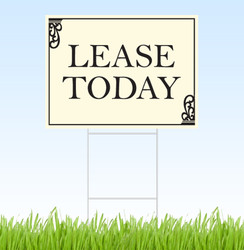 Lease Today coroplast sign with stake