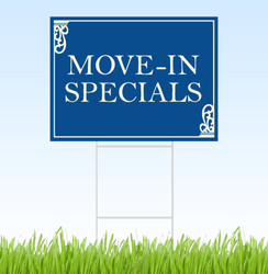 Move-In Specials coroplast sign with stake