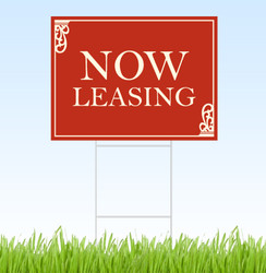 Now Leasing coroplast sign with stake