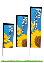 Indoor/outdoor promotional rectangle banner flags in three sizes