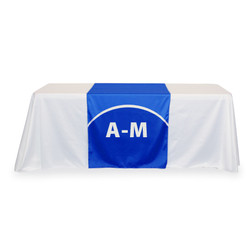 "30"" tradeshow table runner with logo"