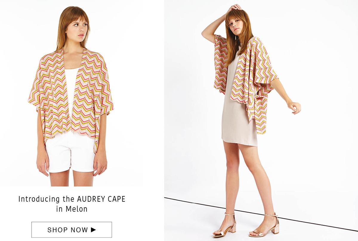 audrey cape - cashmere/cotton - melon