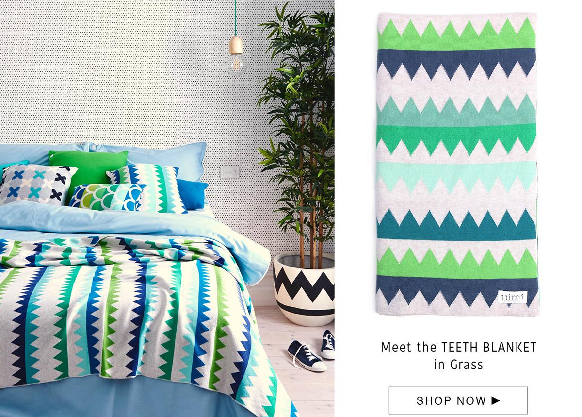 teeth blanket - egyptian cotton - grass