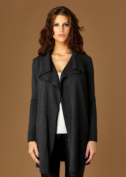 Matilda long cardigan - Coal (front)