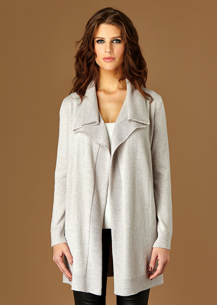 Matilda long cardigan - Oyster (front)
